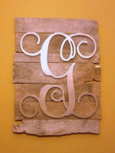 wooden mono- painted gold