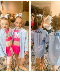 button down shirt monogrammed for dancers to get ready for competition or recital