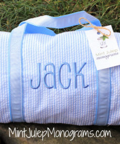 baby blue seersucker baby duffel bag matching blue thread with jack in pearson font