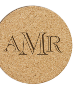 monogrammed cork coasters with 6 font choices for monogram