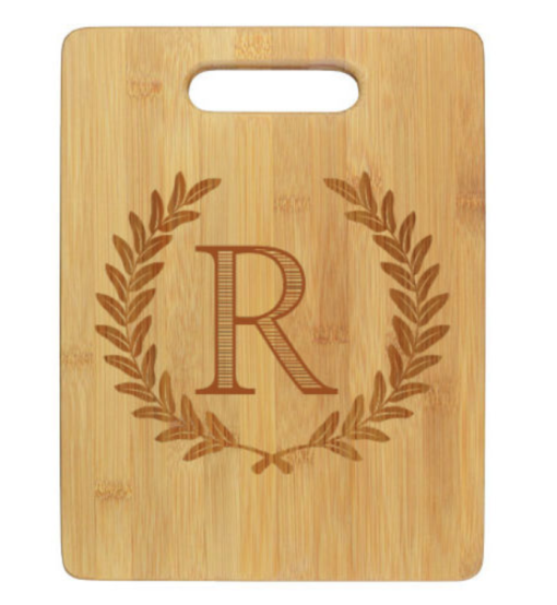 engraved cutting board with wheat leaf and initial