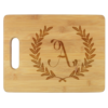 wheat leaf engraved cutting board with initial