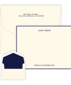flat correspondence cards with two lines of text