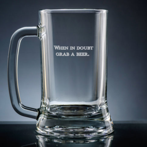 beer mug engraved with 2 lines of text